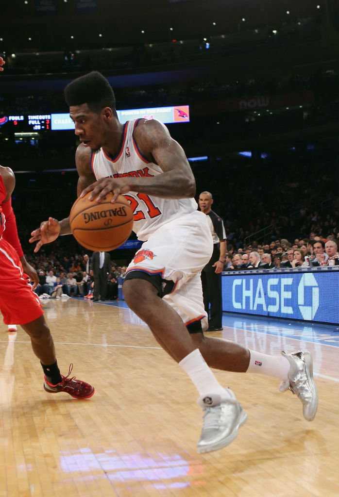 Iman Shumpert wearing adidas Rose 3 Low The Bean