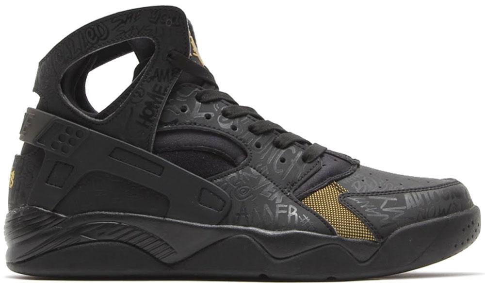 Nike Air Flight Huarache Premium Black/Black-Metallic Gold
