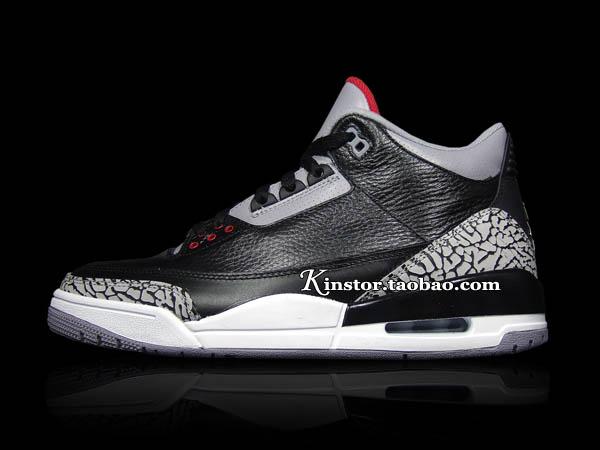 check out 5d7a7 2bb46 Air Jordan Retro 3 Black Varsity Red Cement Grey 136064-010