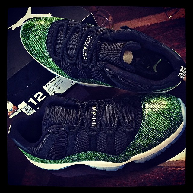 DJ Skee Picks Up Air Jordan XI 11 Low Green Snake