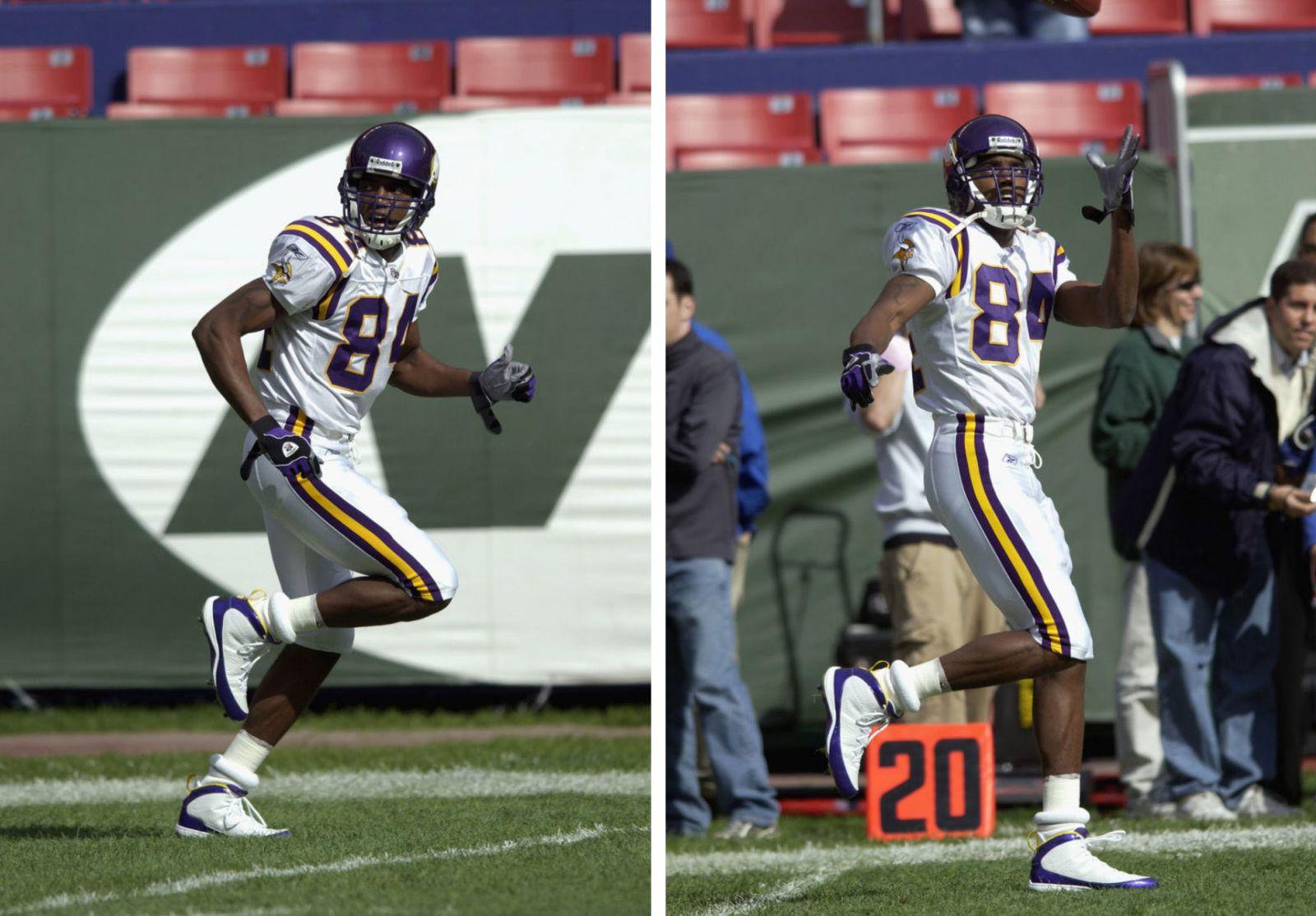 Randy Moss wearing Air Jordan IX 9 Minnesota Vikings PE (6) 00b7102f5