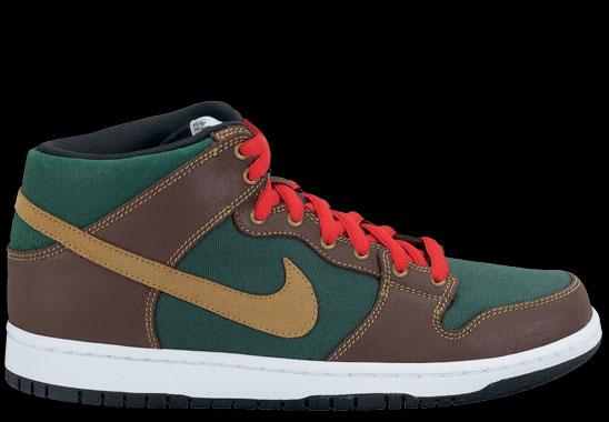 online retailer a1f19 a53e8 Nike SB Dunk Mid Pro Noble Green Metallic Gold Dark Oak