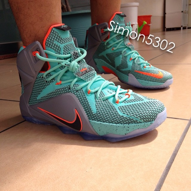 8101afd993d Nike LeBron XII 12 Teal Grey-Orange Sample (16)
