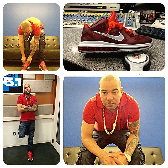 DJ Envy wearing Nike LeBron 9 Low Team Red