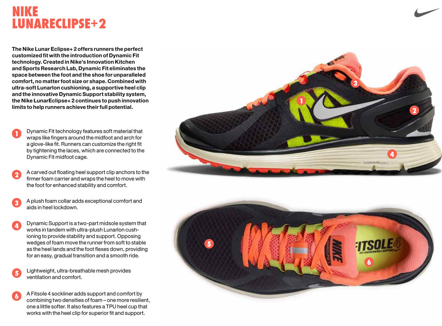 Nike Running Introduces Dynamic Fit with the Nike Lunareclipse+ 2 Tech Sheet