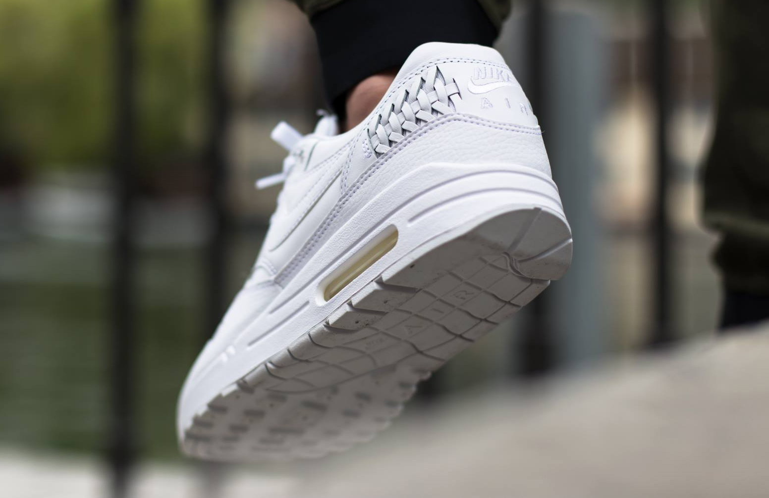 393a39a0a1 Nike Air Max 1 Woven Color: White/White-Black Style #: 725232-100
