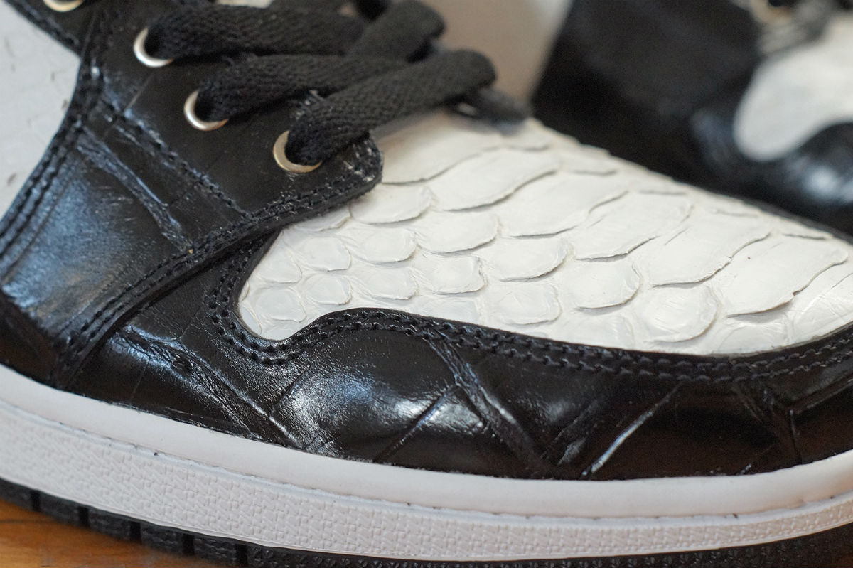 Air Jordan 1 White Python Black Croc Gold Leather by JBF Customs Toe