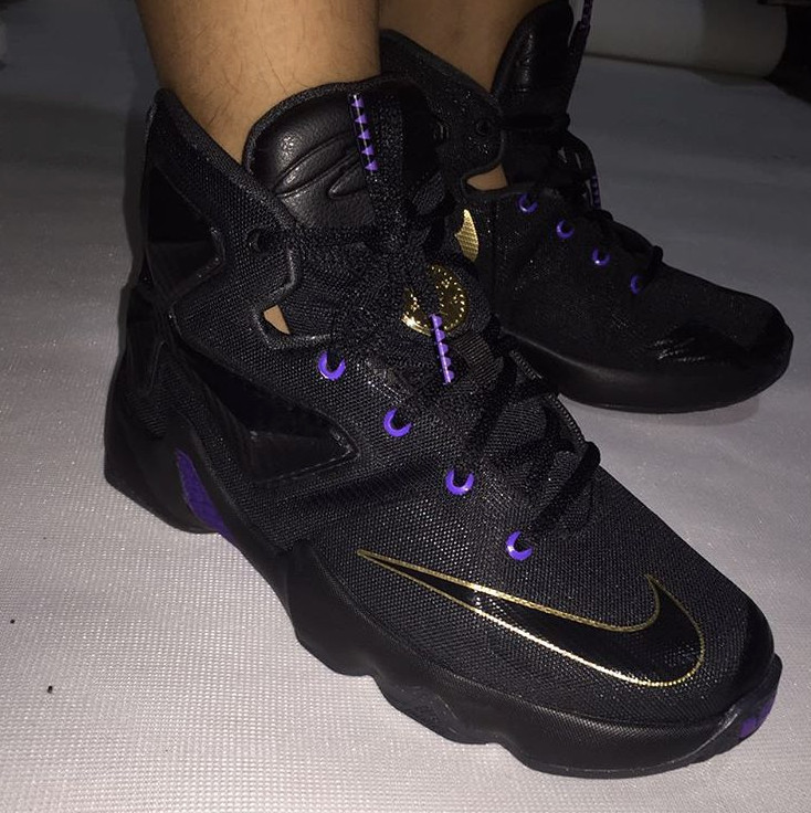 a71b8f95b672e LeBron 13 Black Purple Gold Images via realchickenwop
