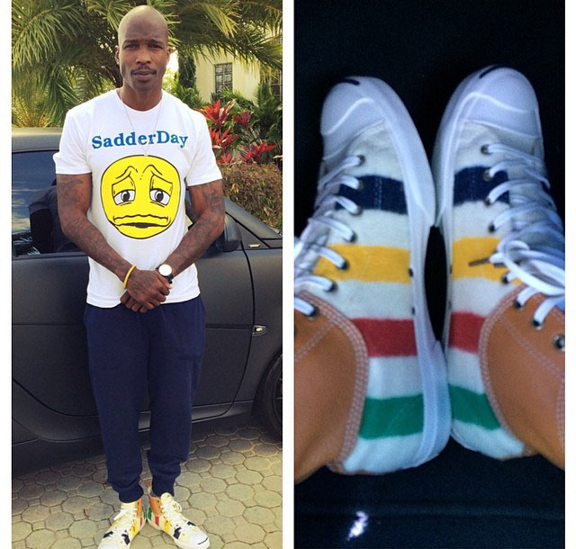 Chad Johnson wearing Hudson's Bay Company x Converse Jack Purcell