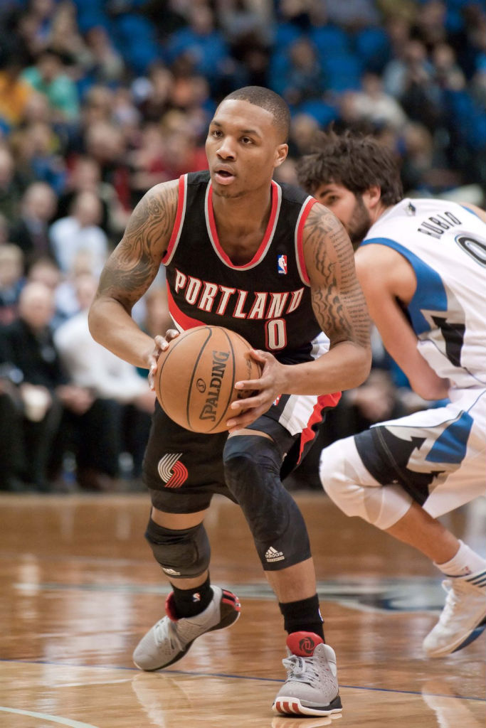 Damian Lillard wearing adidas Rose 3 Home