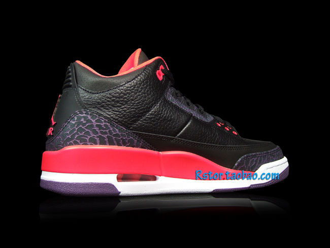 Air Jordan III 3 Black Crimson Purple 136064-005 (3)