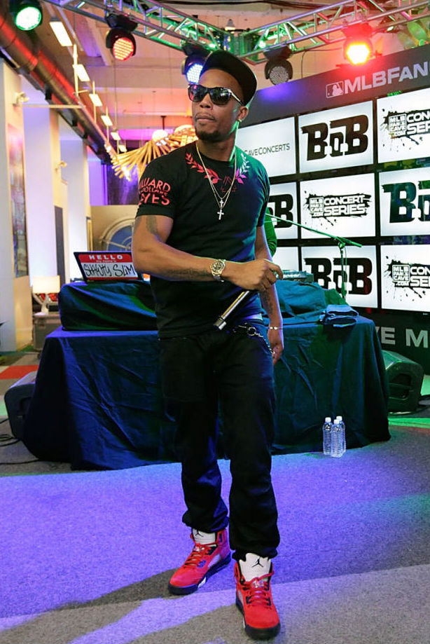 B.o.B. wearing Air Jordan 5 V Retro Toro