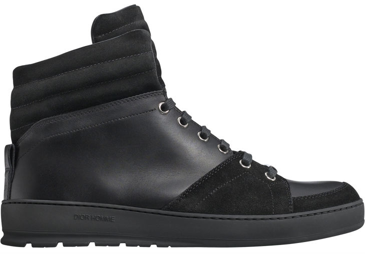 Dior Homme Black Leather and Suede High-Tops (1)