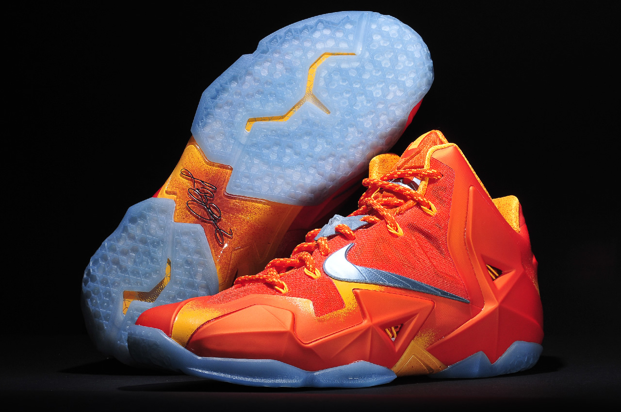 Nike LeBron 11 Forging Iron in Urban Orange Light Armory Blue and Laser Orange