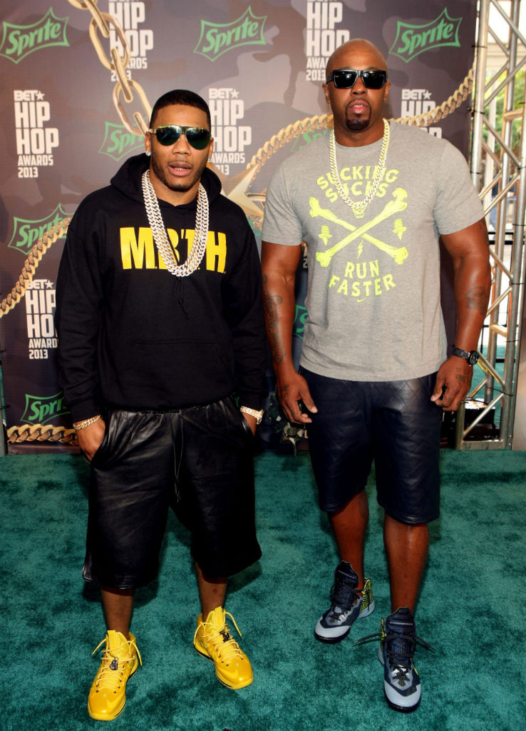 Nelly wearing Nike LeBron X Must Be The Honey; Ali wearing Nike Zoom Hyperenforcer XD