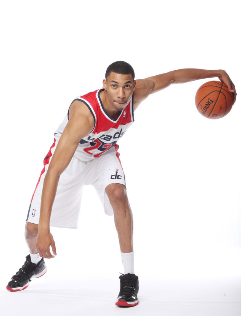Otto Porter Jr wearing Air Jordan XI 11 Retro Black Red
