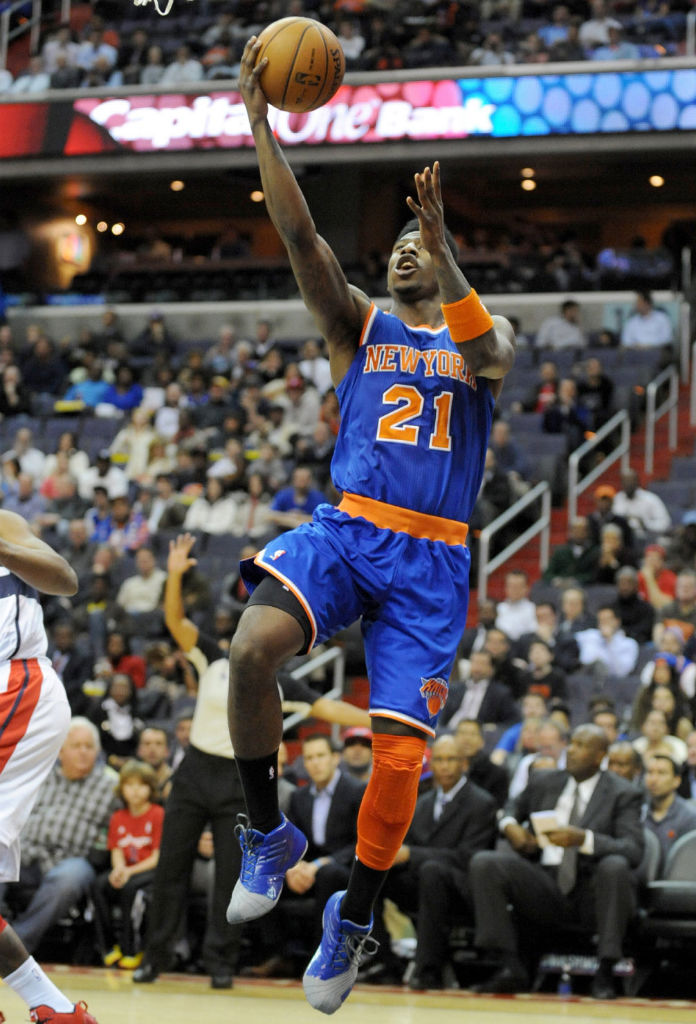 Iman Shumpert wearing adidas TMAC 1 Blue Grey