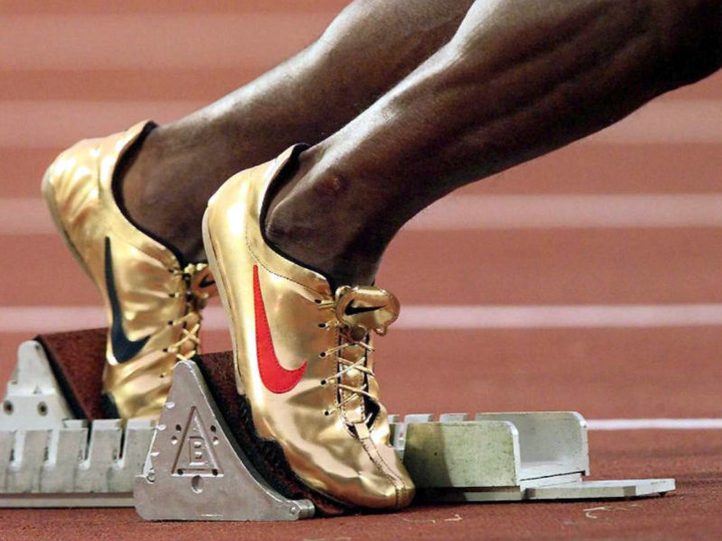 cheap for discount cf5fa 014b2 Nike Michael Johnson Golden Track Spikes 1996 Olympics