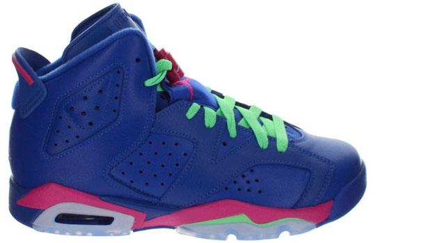 Air Jordan 6 Retro Girls Game Royal/White-Vivid Pink-Light Lucid Green