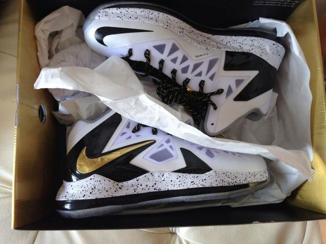 c8e6f9390074 Nike LeBron X P.S. Elite White Metallic Gold Black 579834-100 (1)