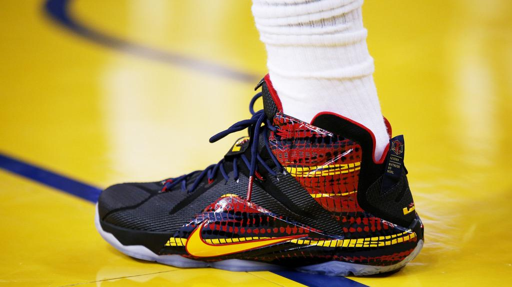 LeBron James Wearing a Black/Red-Yellow-Navy PE