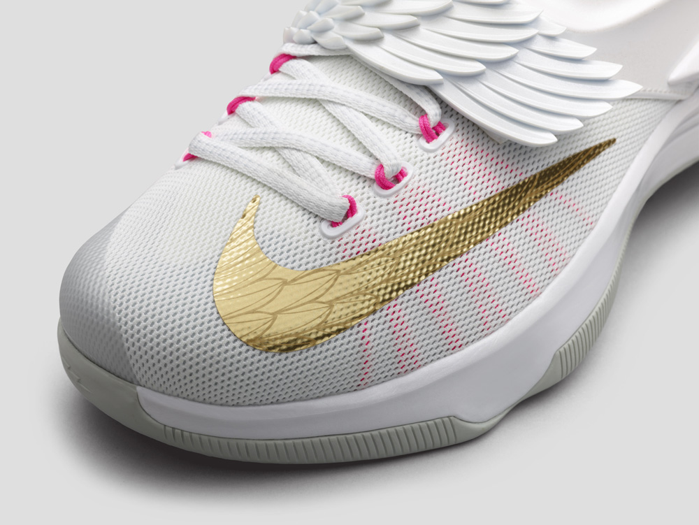 quality design 64f92 249cc Nike KD 7 Aunt Pearl Release Date  02 19 15. Color  White Metallic  Gold-Pink Power-Pure Platinum Style    706858-176. Price   170