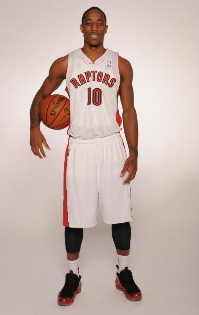 DeMar DeRozan wearing Nike Air Foamposite One Metallic Red
