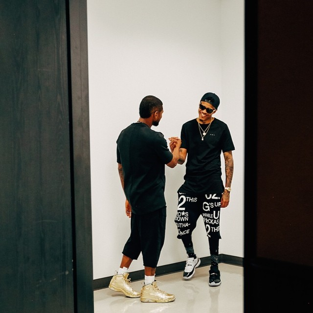 Usher wearing Air Jordan IX 9 Silver; August Alsina wearing Air Jordan XI 11 Low