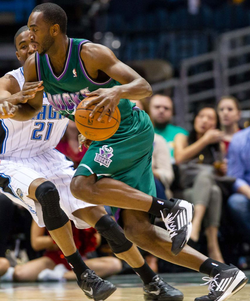 Luc Mbah a Moute wearing adidas adizero Crazy Light 2 Low