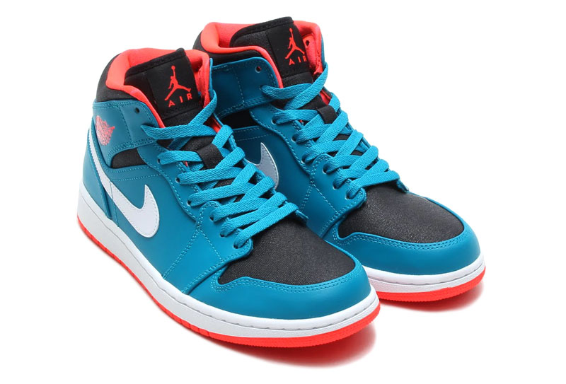 Air Jordan I 1 Mid Tropical Teal/Infrared 23-Black-White 554724-308 (2)