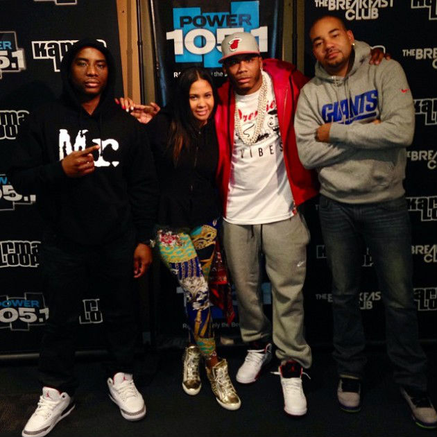 Charlamagne wearing Air Jordan III 3 Retro Cement; Nelly wearing Air Jordan 5 V Retro Fire Red; DJ Envy wearing Air Jordan V 5 Retro Fresh Prince