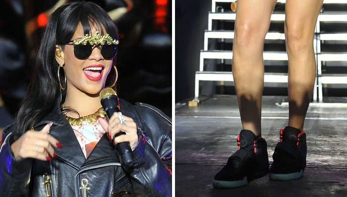 Rihanna wearing Nike Air Yeezy 2