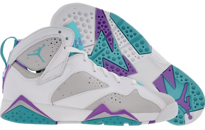 Discount Authentic 442960-001 Womens Nike Air Jordan 7 Shoes GS Neutral Grey/Mineral Blue-Bright Violet-White