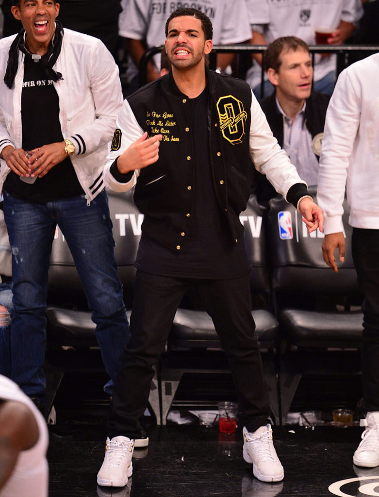 Drake Wearing White 'OVO' Air Jordan 12 (3)
