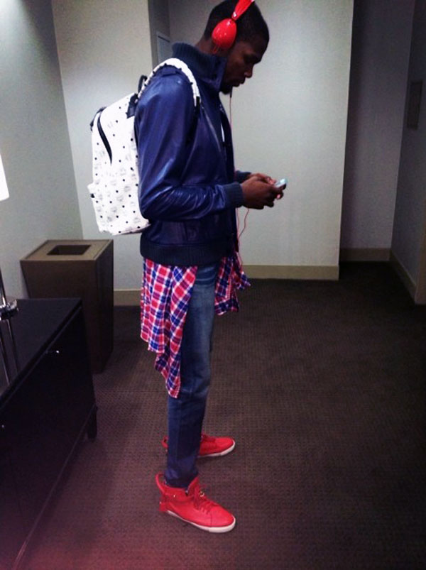 Kevin Durant wearing Buscemi 100mm Red