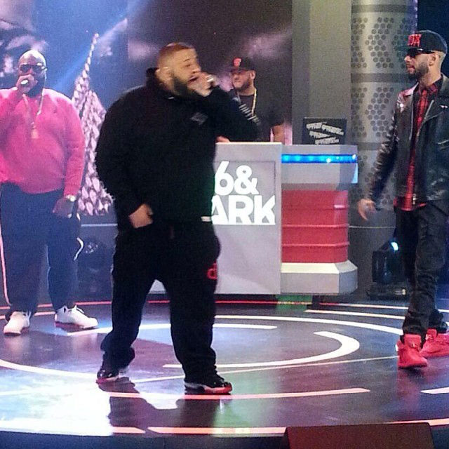 DJ Khaled wearing Air Jordan 11 XI Retro Black/Red