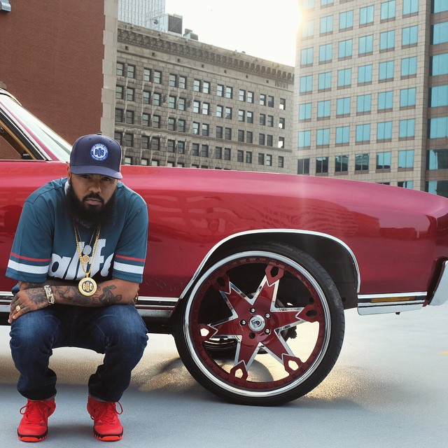 Stalley wearing the 'Deceptive Red' Nike Kyrie 1