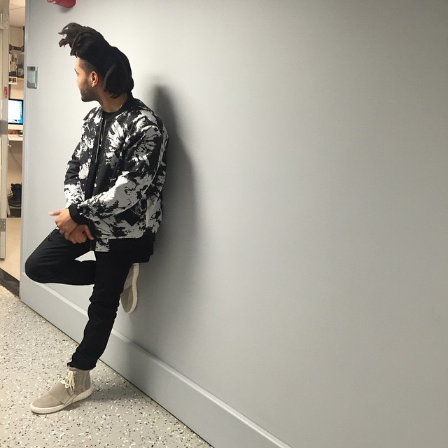 The Weeknd wearing adidas Yeezy 750 Boost