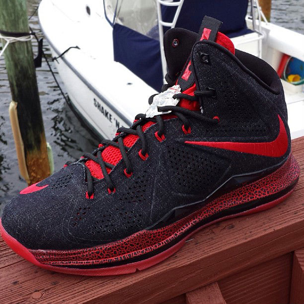 adc7f7663c7 Nike LeBron X EXT - Black Red Denim