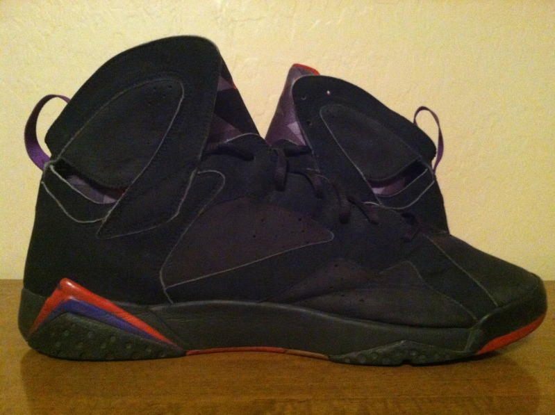 the latest e894f 9690a Air Jordan 7 Black Red Missing Eyelets