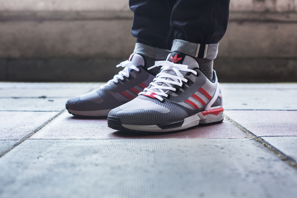 adidas ZX Flux 8000 Weave Pack Grey Red White On-Foot