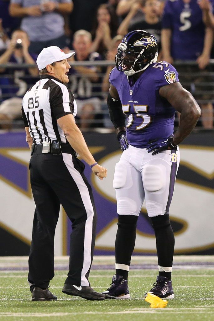 Terrell Suggs wearing Air Jordan XII 12 Ravens by Soles by Sir (2)