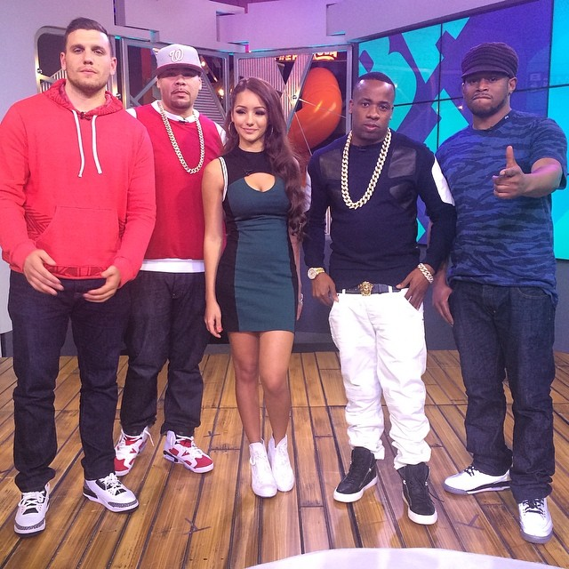 Fat Joe wearing Air Jordan V 6 Carmine; Sway wearing Air Jordan 5Lab3; Yo Gotti wearing Giuseppe; Chris Distefano wearing Air Jordan III 3 Infrared 23