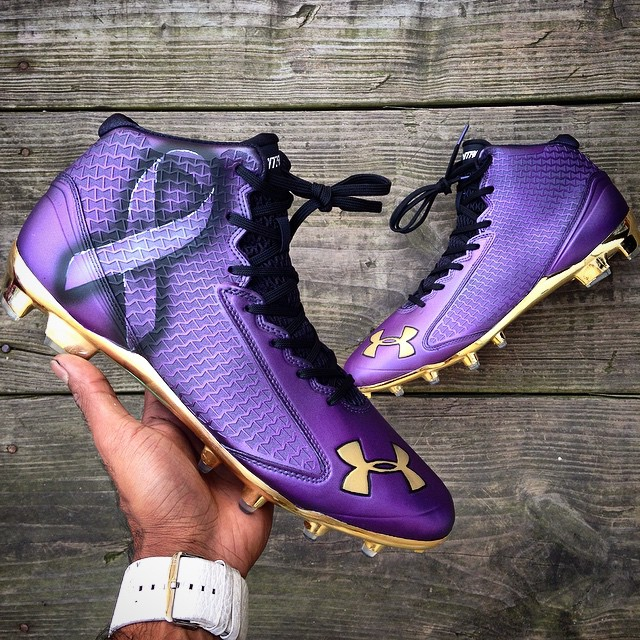 956e7a6c5d73 Steve Smith wearing Under Armour Nitro Icon Mid for Domestic Violence  Awareness by Kreative Custom Kicks
