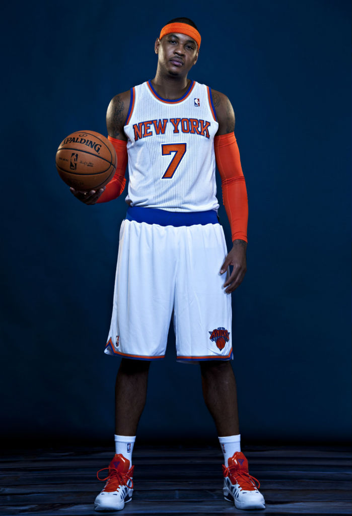 Carmelo Anthony wearing Jordan Melo M8 Advance