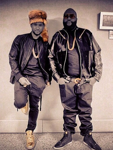 Usher wearing Air Jordan III 3 Gold; Rick Ross wearing Versace