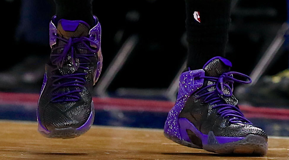 Marcus Morris wearing Black/Purple Nike LeBron XII 12 (2)