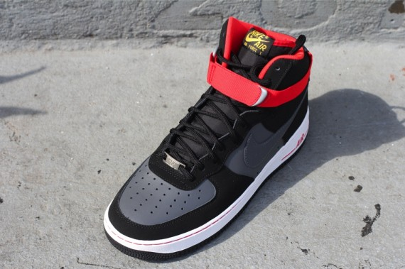 nike air force 1 high top red and black