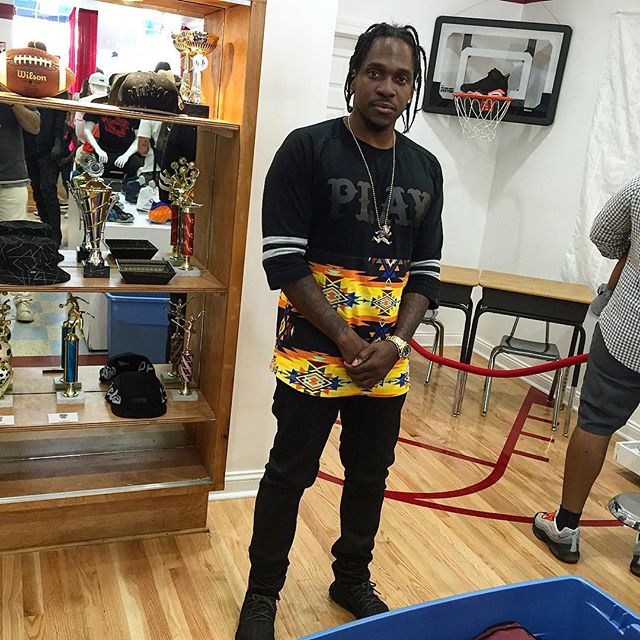 Pusha T wearing the 'Pirate Black' adidas Yeezy 350 Boost