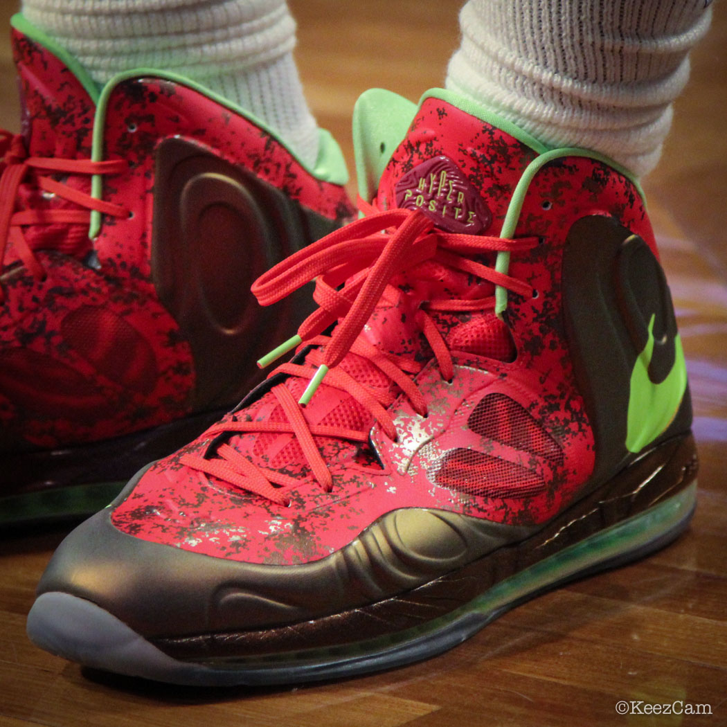 Andre Drummond wearing Nike Air Max Hyperposite Red/Green (2)